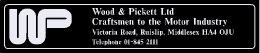 Wood and Pickett - Ruislip Middlesex London - 250x50