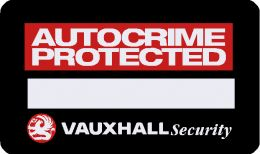 Vauxhall Autocrime Protected Security sticker